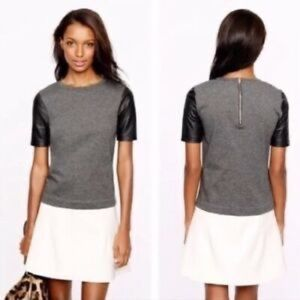 J. Crew faux leather colorblock short sleeve top S
